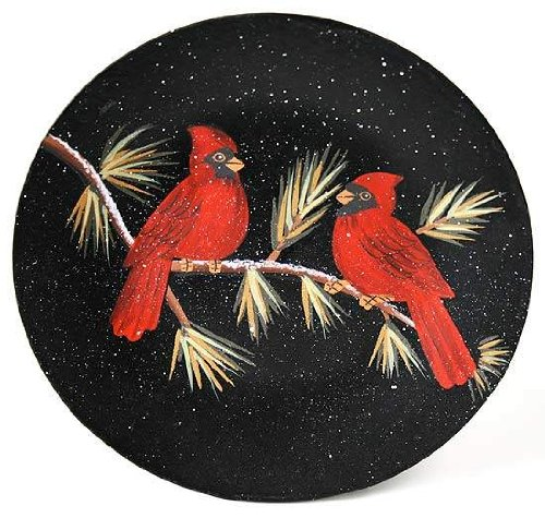 Set of 2 Hand Painted Red Cardinals in Pine Decorative Plates 2 Hand Painted Plates