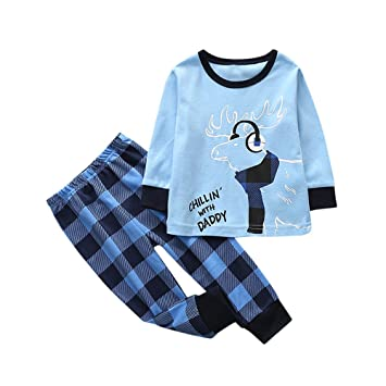 68ed93266 Toddler Kids Baby Girl Boy Christmas Clothes Set Long Sloeeves Deer T-shirt  Tops+