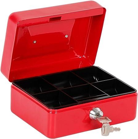 Gr8 Home - Caja de Metal para Dinero en Efectivo, Caja de Seguridad portátil de estaño de Acero con Cerradura y Bandeja para Monedas (15 cm), Color Rojo: Amazon.es: Hogar