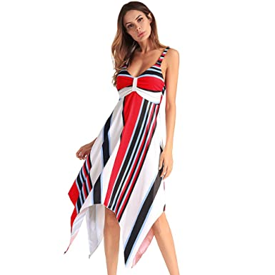 0d11177100 Antaina White Red Black Strips Halter Deep V Neck High Low Beach Party Dress