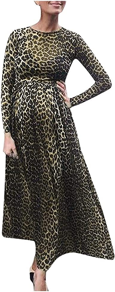 Beyonds Maternity Dresses Leopard Print Round Neck Photography Women Gown Photoshoot Baby Shower At Amazon Women S Clothing Store