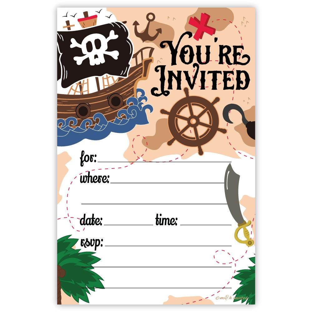 Pirate Birthday Party Invitations 20 Count With Envelopes
