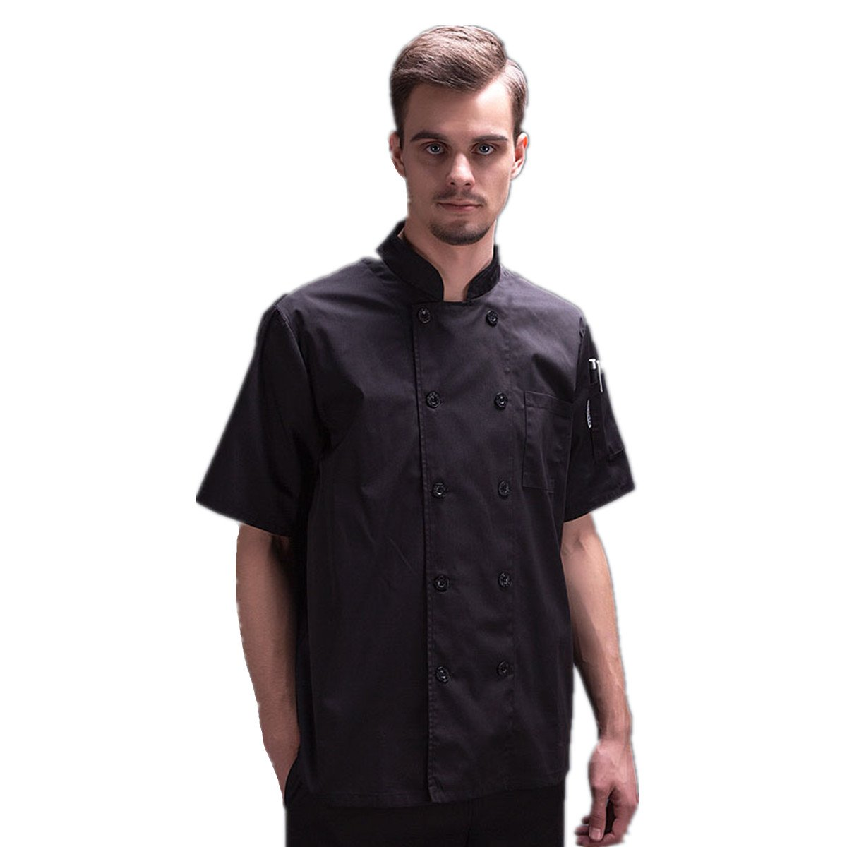 XINF Chef Uniform Short Sleeve Restaurant Work Dress Chef Jacket Double Breasted Chef Coat Summer by XINFU (Image #1)