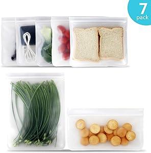 Reusable Sandwich Bags Snack Storage Bags Reusable Food Freezer Plastic Bags 7 Pack