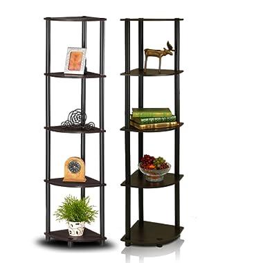 Furinno 2-99811EX/BK Turn-N-Tube 5-Tier Corner Multipurpose Display Shelves, Set of 2