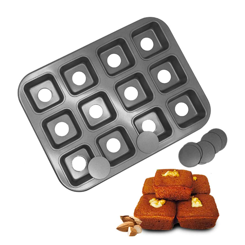 HOMOW Non-Stick Bakeware Brownie Bar Baking Pan, Mini Cheesecake Pan Cupcake Pan with Removable Bottom, Square Cake Pan,12-Cavity (13.8'' x 10.4'' x 1.4'') by HOMOW (Image #1)