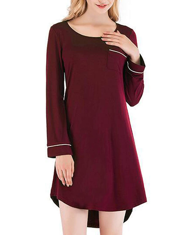 ee8bfdeef7e4 new Dreamlove Damen Nachthemd Kleid Baumwolle Langarm Nachtwäsche ...