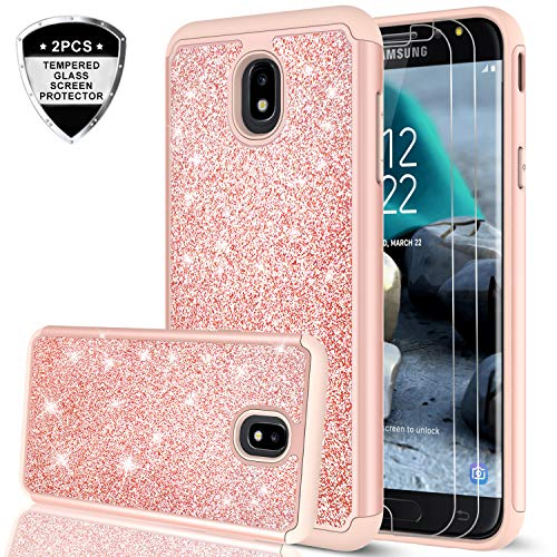 Galaxy J7 Refine/J7 2018/J7 Star/J7 Top/J7 Aura/J7 Aero/Crown/Eon Case w/Tempered Glass Screen Protector for Girls Women,LeYi Glitter Protective Phone Case for Samsung J7 V 2nd Gen TP Rose Gold
