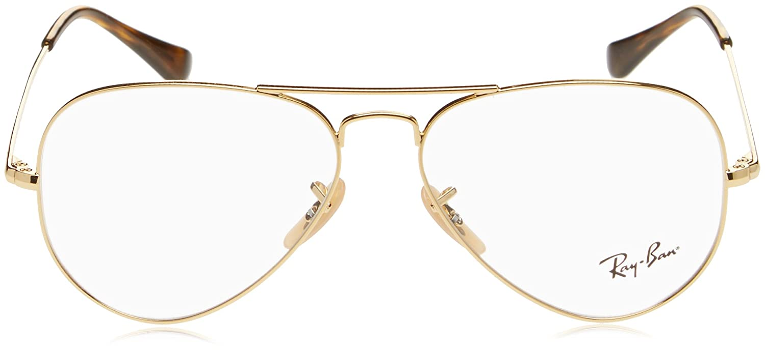 de9c0748f4 Amazon.com  Ray-Ban 0rx6489 No Polarization Aviator Prescription Eyewear  Frame Gold 55 mm  Clothing