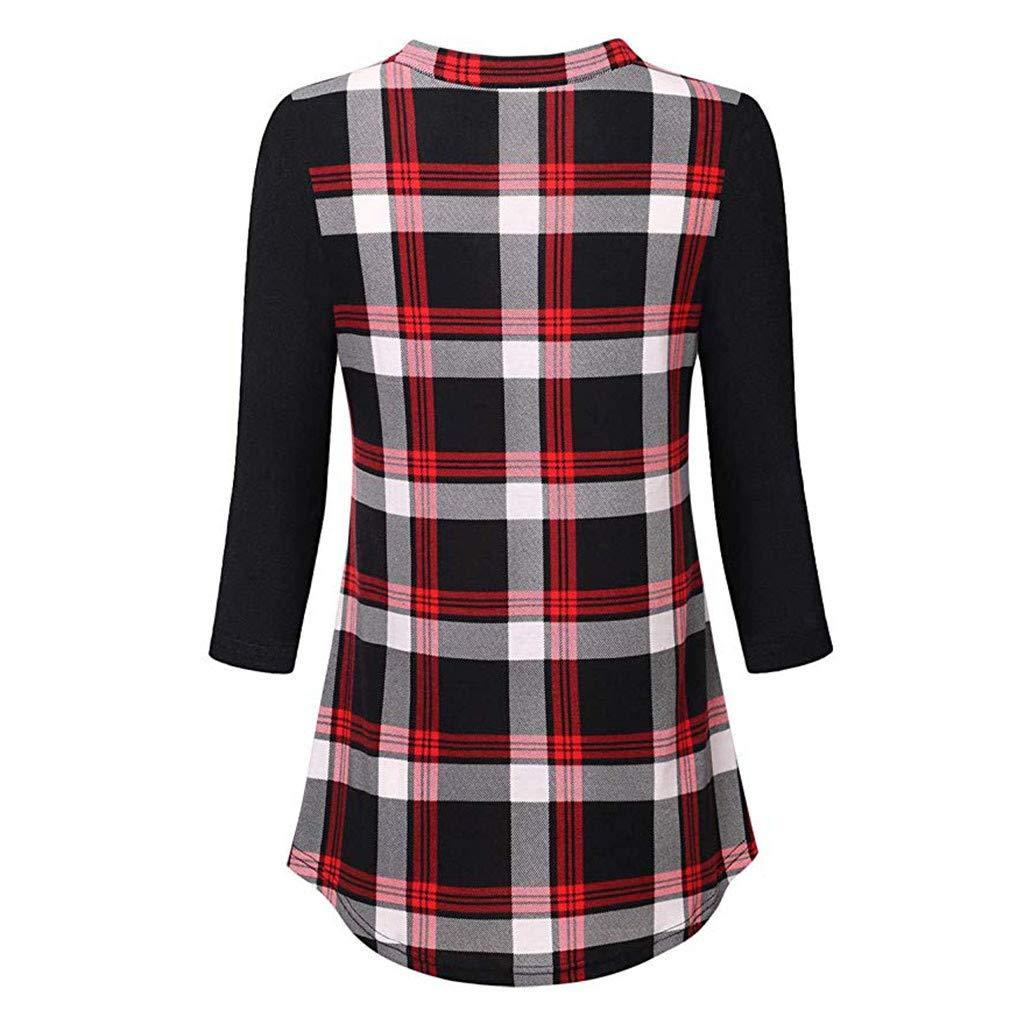 Rambling New Womens 3//4 Sleeve Henley V Neck Color Block Plaid Tunic Shirt