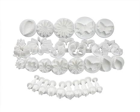 Fondant Moldes - 33 piezas DIY Moldes eyector sello Decoración para tartas Culpitt - Set hornear