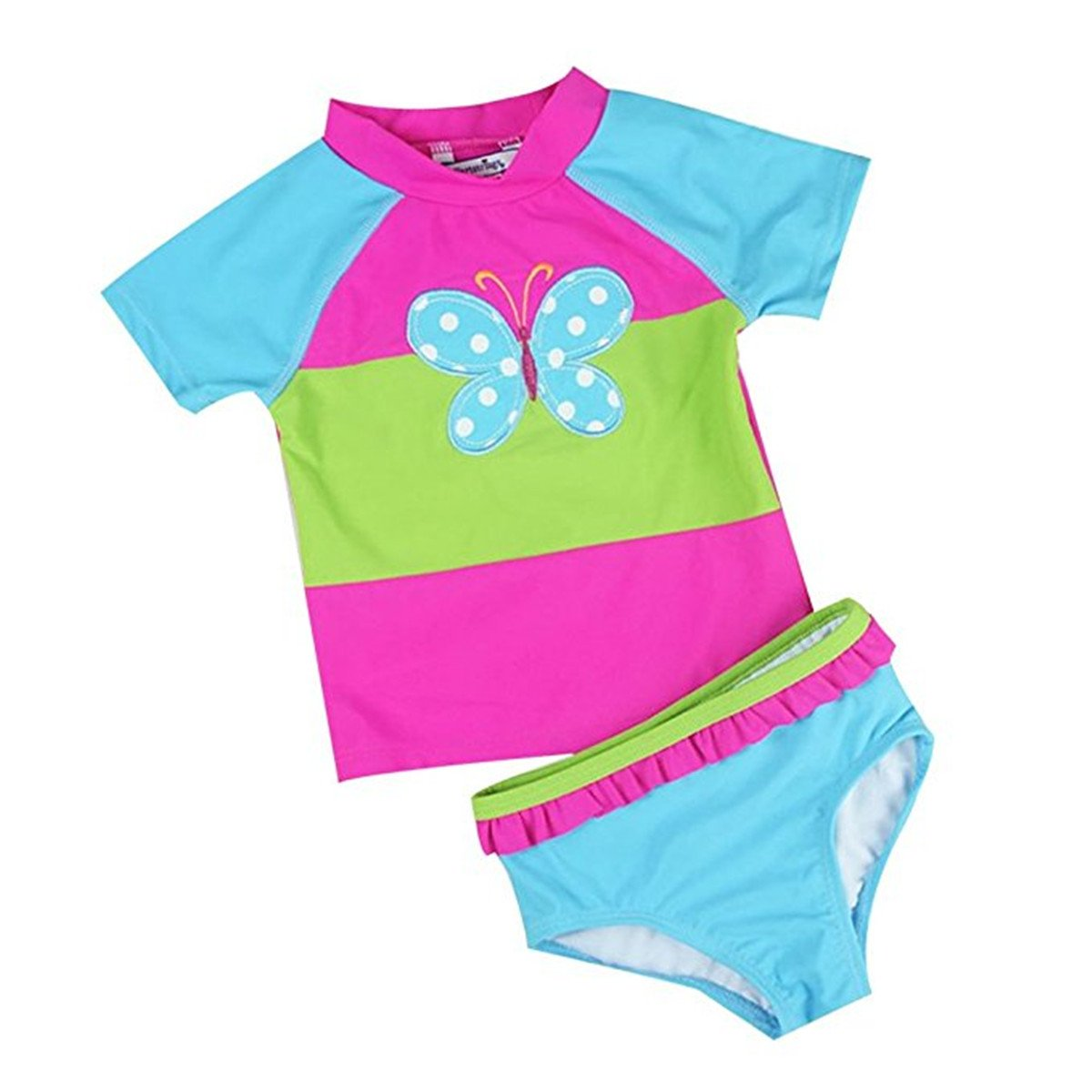 Baby Kids Girls Toddler Two Pieces Butterfly Ruffled Sun Protection Rash Guard UPF 50+ UV Swimsuit swavjnsuit001