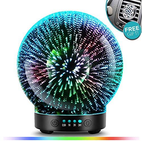(3D Glass Aromatherapy Essential Oil Diffuser - Newest Version fragrance oil Humidifier, 7 LED Color lighting modes firework theme, Premium Ultrasonic mist, Auto-Off Safety Switch, Car Vent)