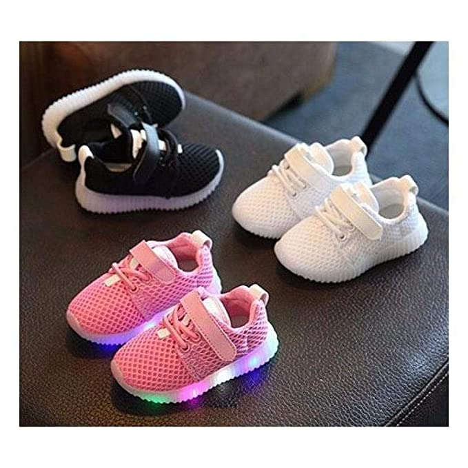 Amazon.com: FidgetKute Zapatos de Bebe Niña Niño Zapatillas de Malla con Luz LED Intermitente Blanco 5.5: Clothing