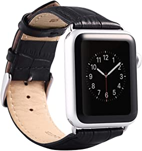 Valkit Compatible with Apple Watch Bands 42mm 44mm Genuine Leather Strap Smart Watch Band Bracelet Replacement Wristband with Stainless Steel Adapter Clasp for iWatch 6 5 4 3 2 1, Black