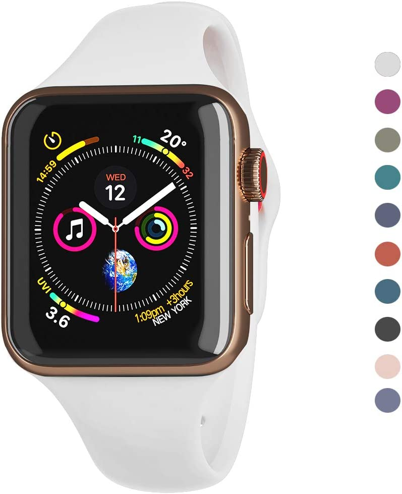 Compatible Apple Watch Series 5,4,3,2,1 Band 38mm 40mm 42mm 44mm /Airpods Container for Free/Soft Silicone Sport Wrist Strap iWatch Replacement Wristbands for Apple Watch S/M (White, 42MM/44MM)