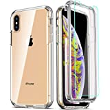 COOLQO Compatible for iPhone X Case/iPhone Xs Cases 5.8 Inch, with [2 x Tempered Glass Screen Protector] Clear 360 Full Body