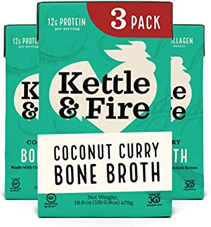 product image for Coconut Curry & Lime Chicken Bone Broth by Kettle and Fire, Pack of 3, Keto Diet, Paleo Friendly, Whole 30 Approved, Gluten Free, with Collagen, 1 Net Carb, 12g of protein, 16.9 fl oz