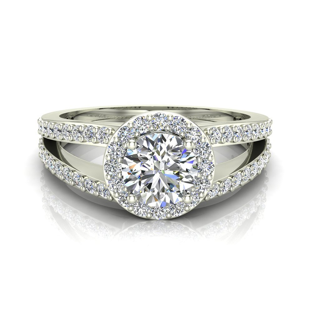 1.40 ct tw Round Brilliant Split Shank Halo Engagement Ring 14K White Gold (Ring Size 5.5)