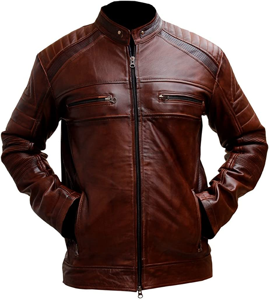 XS, Brown Outfitter Jackets Mens Biker Vintage Motorcycle Distressed Brown Cafe Racer Leather Jacket