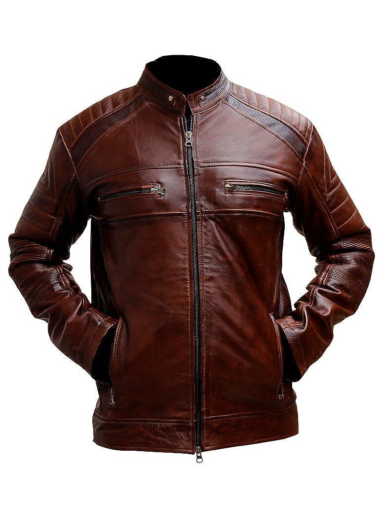 Mens Biker Vintage Motorcycle Distressed Brown Cafe Racer Leather Jacket Gen1leathers