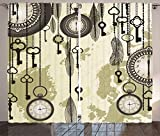 Ambesonne Antique Decor Curtains, Old Days Design with 20s Cultural Items and Tribal Feathers Changing Trends Print, Living Room Bedroom Decor, 2 Panel Set, 108 W X 84 L Inches, Green Grey Cream