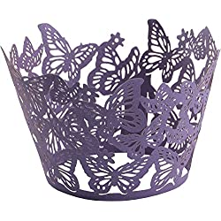 DriewWedding 50PCs Butterfly Pattern Hollow Artistic Bake Cake Cupcake Wrappers Paper Cups Liner for Wedding Birthday Tea Party Baby Shower Food Decoration (Purple)