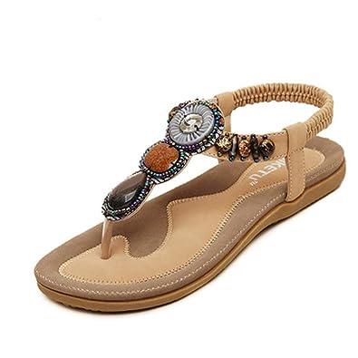 Doux Fashion Herringbone Clip Sandales Bohême 2016 Perlée Flats Femmes Chaussures Femme Ete Toe Py8nwOvmN0