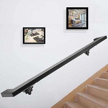 VEVOR Pasamanos Escalera 152.4 cm Barandilla Escalera 152.4 cm Pasamanos para Escaleras Pasamanos de Pared Montaje en Pared Hierro Forjado Color Negro Cuadrado: Amazon.es: Bricolaje y herramientas