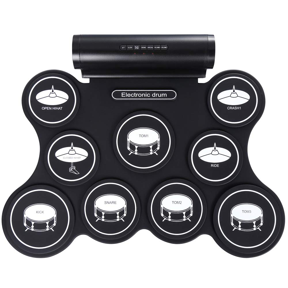 BESTSUGER Portable Drum Pad elettronico, Digitale Roll-up Touch Sensitive Drum Practice Kit con 9 Pad etichettati 2 Pedali Bambini Bambini Principianti