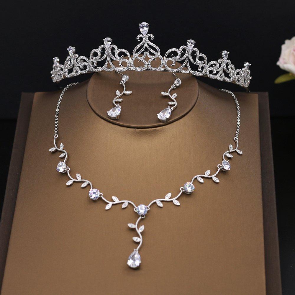 Kanrome Micro Inlays Zircon Jewelry Sets Princess Bridal Crown Tiara Cubic Zirconia Necklace Earrings