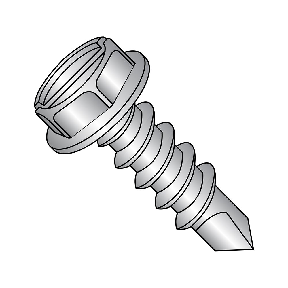 Slotted Drive 410 Stainless Steel Self-Drilling Screw Pack of 25 Hex Washer Head #10-16 Thread Size #3 Drill Point Pack of 25 1 Length Plain Finish Small Parts 1016KSW410 1 Length