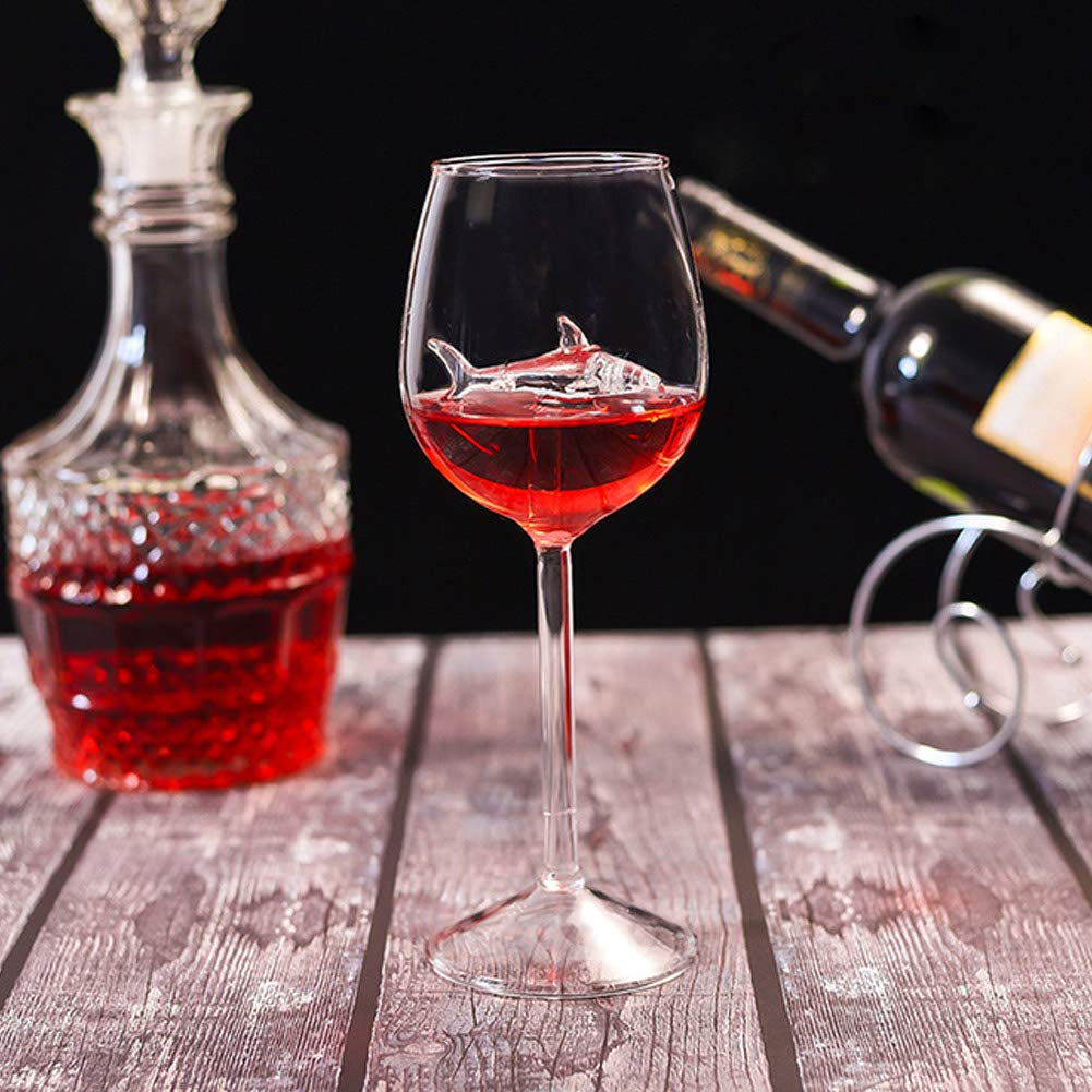 Red Wine Glasses Creative Goblet Glass,High-end Flutes Glass Perfect for Homes//Bars//Party Red Wine Glasses with Shark Inside Goblet Glass Lead-Free Clear Glass for Adults Crystal Wine Glasses