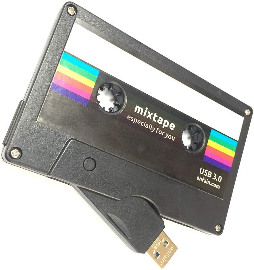 *RETRO* Cassette Tape Print *32GB* Slim USB Flash Memory Drive Credit Card Sized
