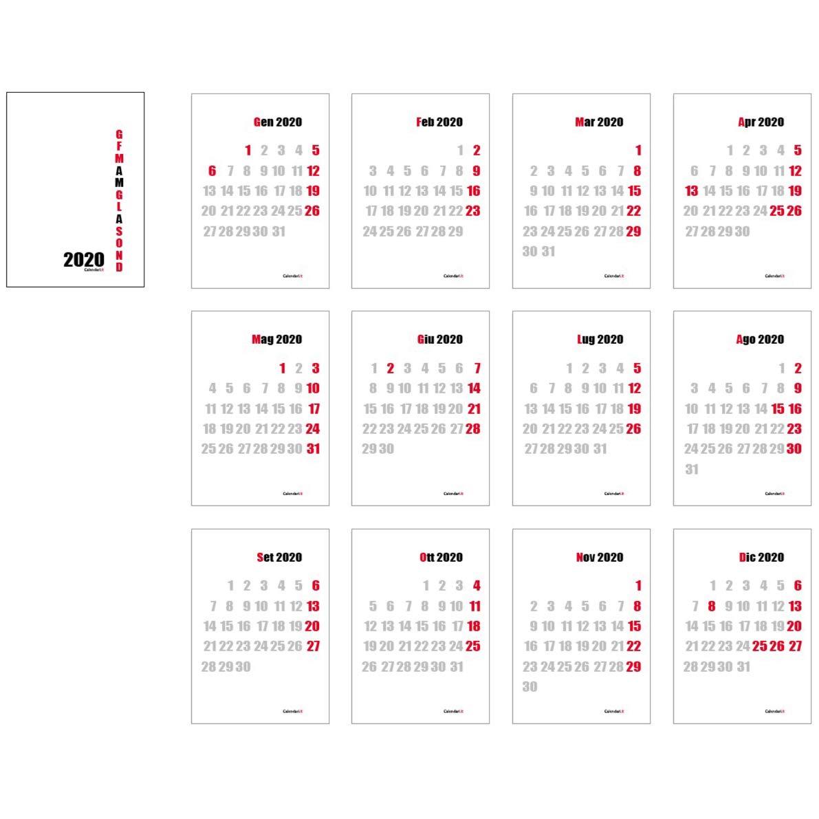 Calendario 2020 da muro moderno artistico elegante 30x42 cm