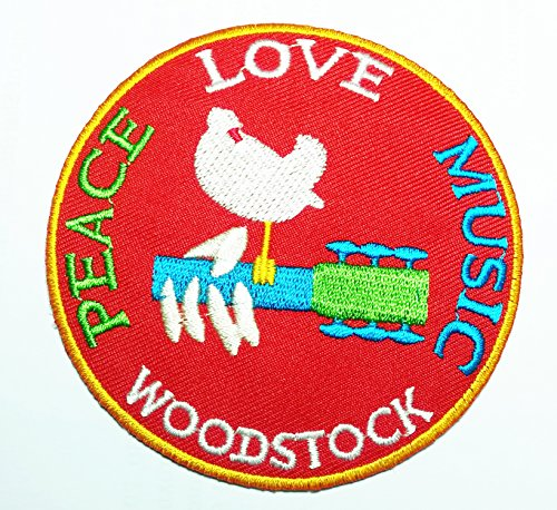 Woodstock - Peace Love Music Embroidered Patch , Iron / Sew - On