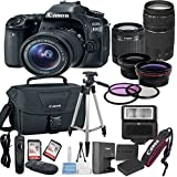 Canon EOS 80D Digital SLR Camera with EF-S 18-55mm IS STM + 75-300mm Zoom Lens Bundle includes Camera, Lenses, Filters, Bag, Memory Cards, Tripod, Flash and More - International Version