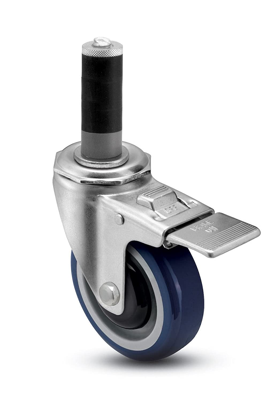 300 lbs Capacity Expanding Stem Blue Shepherd Institutional Series 4 Diameter Ball Bearing Urethane Wheel Total Lock Caster Fits 1-5//8-1-11//16 Round Tube Diameter