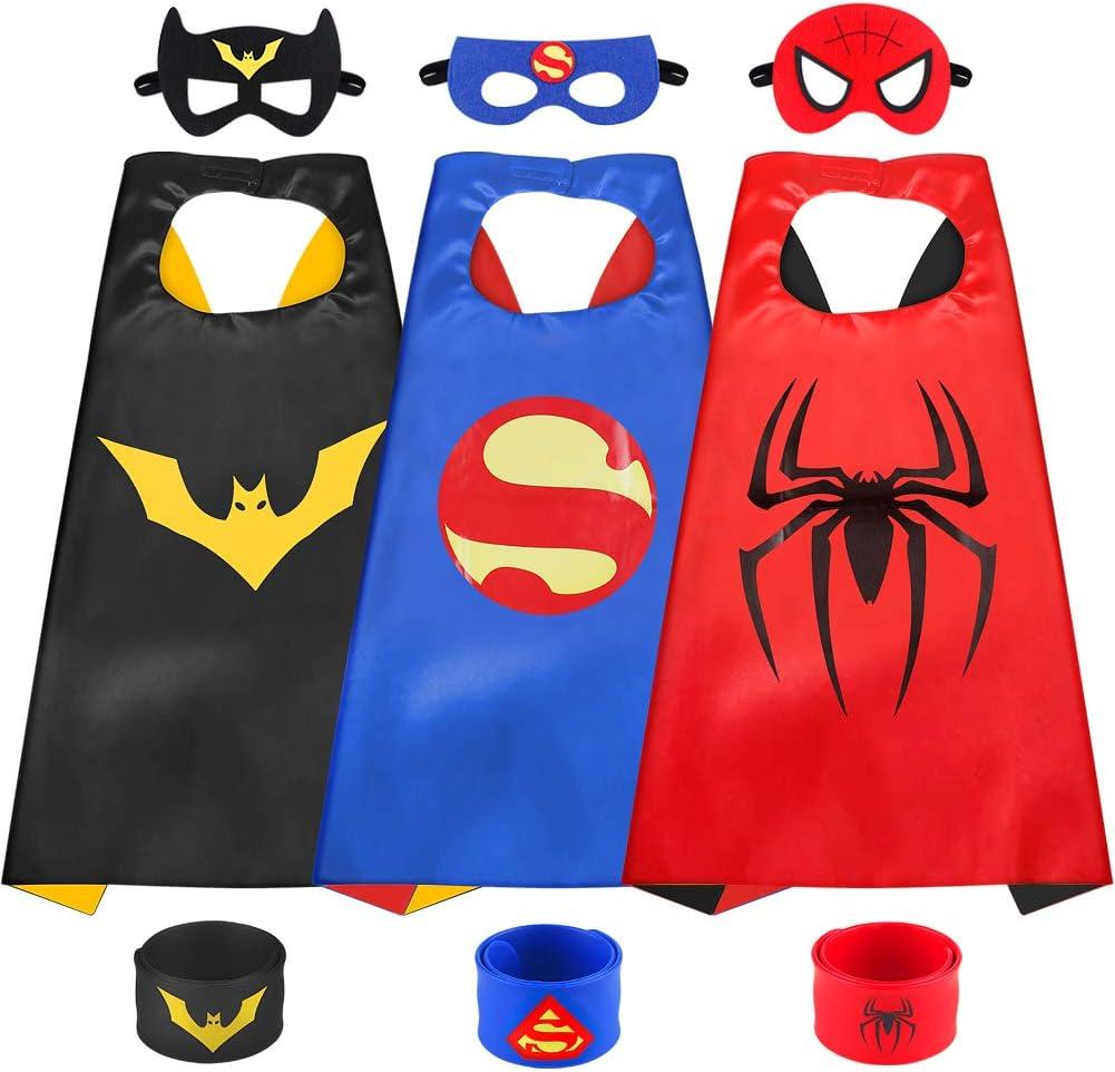 Sinoeem Capa de Superhéroe para Niños - 3 Capa y 3 Máscaras y 3 Slap Pulseras - Ideas Kit de Valor de Cosplay de Diseño de Fiesta de Cumpleaños de Navidad - Juguetes para Niños y Niñas (3pcs Capes-B)