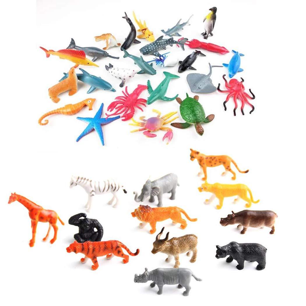 YEZIDE R/éaliste Ocean Forest Figures Kids Play Toys 24pcs Animaux Marins Coffrets de d/écoration pour g/âteau 12 Animaux de la for/êt I pour Le Bain Jouets /éducatifs et p/édagogiques