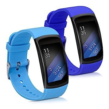 kwmobile 2X Pulsera para Samsung Gear Fit2 / Gear Fit 2 Pro - Brazalete de [Silicona] [Azul Oscuro/Azul Claro] sin Fitness Tracker
