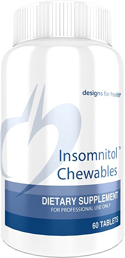 Designs for Health Insomnitol Chewables - Chewable Melatonin Sleep Support with L-Theanine, 5-HTP, B6 + Inositol - Non-GMO Delicious Lemon Flavored Supplement (60 Tablets)