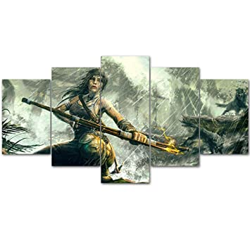 Amazon.com: mingting – 5 Panel lona pared arte lara croft ...