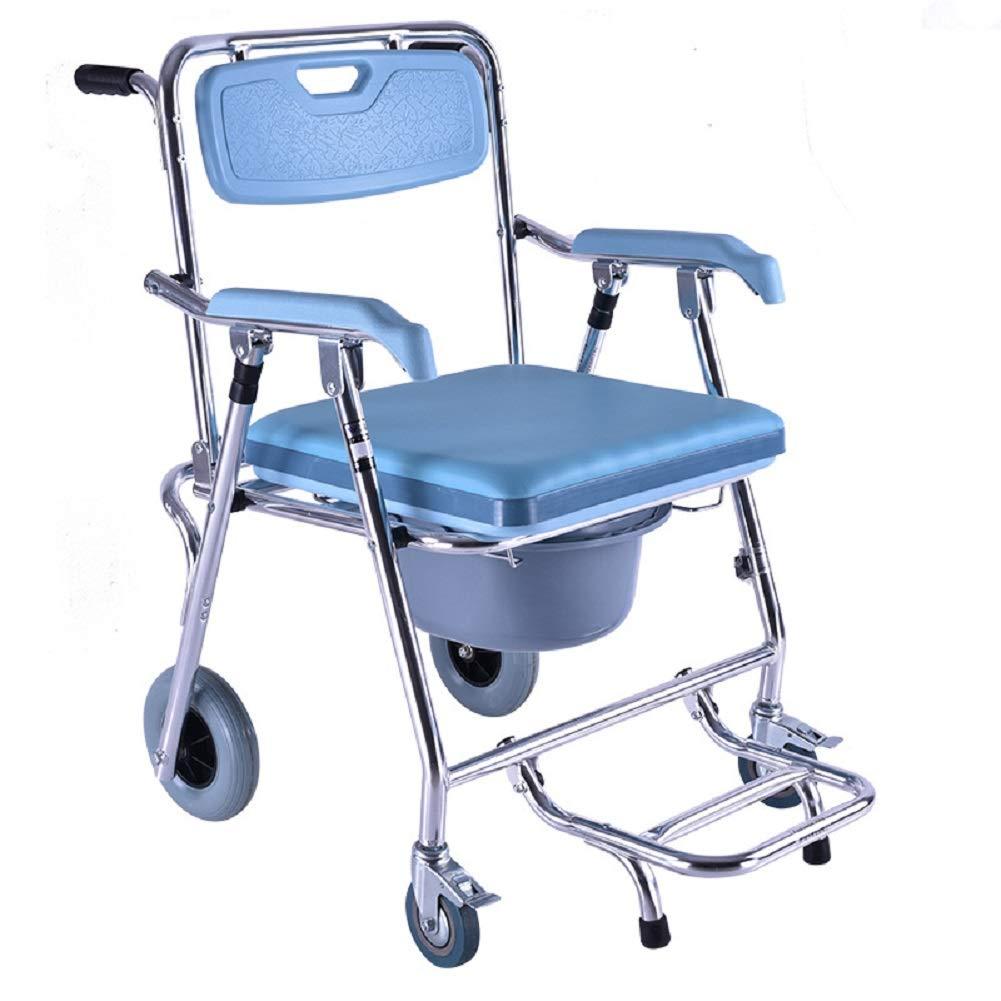 EDAHBJNEST5MK Multifunktions-Toilettenstuhl mit Vier Rädern, bewegliche Rollstühle aus Aluminiumlegierung für alte Männer