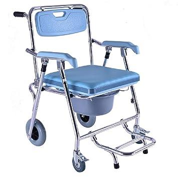 EDAHBJNEST5MK Silla de Inodoro multifunción Plegable para Adultos con Cuatro Ruedas movibles de aleación de Aluminio sillas de Ruedas para Hombres Viejos: ...