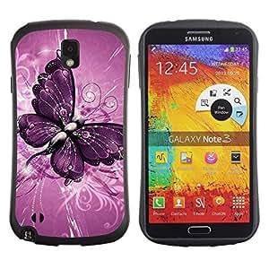 Fuerte Suave TPU GEL Caso Carcasa de Protección Funda para Samsung Note 3 N9000 N9002 N9005 / Business Style Butterfly Painting Purple Floral Pattern
