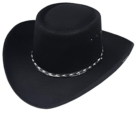 b763d2bacdee19 Modestone Unisex Gambler Faux Felt Cowboy Hat Black: Amazon.co.uk: Clothing