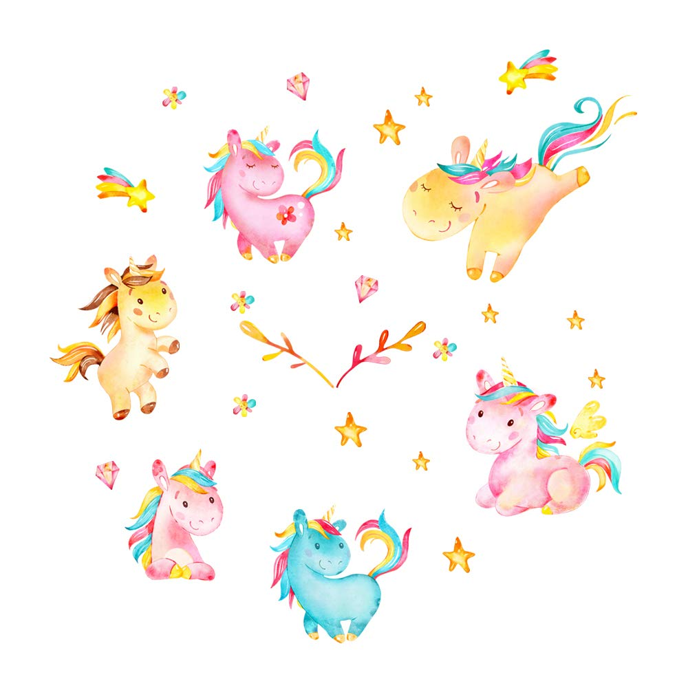 decalmile Colorful Unicorn Wall Decals for Kids Room Vinyl Peel and Stick Wall Stickers Nursery Baby Room Decoration