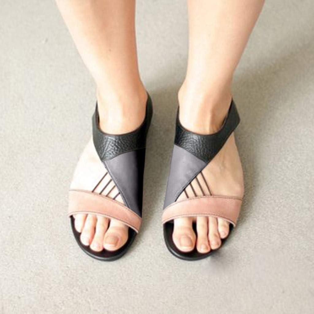 Womens Flats Sandals Splice Hollow Out Sandals Open Toe Back Zipper Summer Casual Beach Sandals