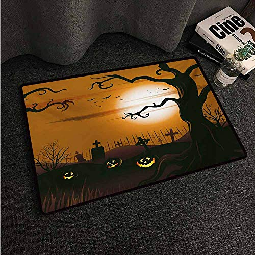HCCJLCKS Pet Door mat Halloween Leafless Creepy Tree with Twiggy Branches at Night in Cemetery Graphic Drawing Non-Slip Door mat pad Machine can be Washed W20 xL31 Brown Tan -